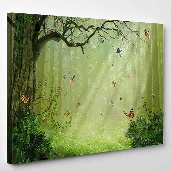 Fantasy Forest Colorful Butterflies Flying Among - Fantasy Canvas Wall Decor