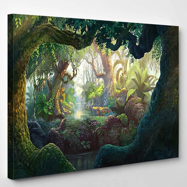Fantasy Inside Forest Background Painting - Fantasy Canvas Wall Decor