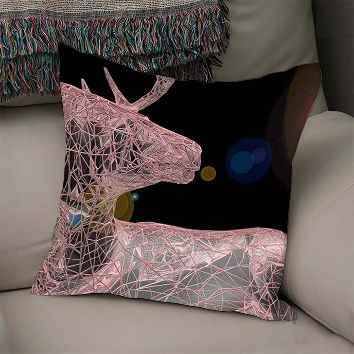 3D Render Abstract Illustration Unusual Blurry - Deer Animals Linen Throw Pillow