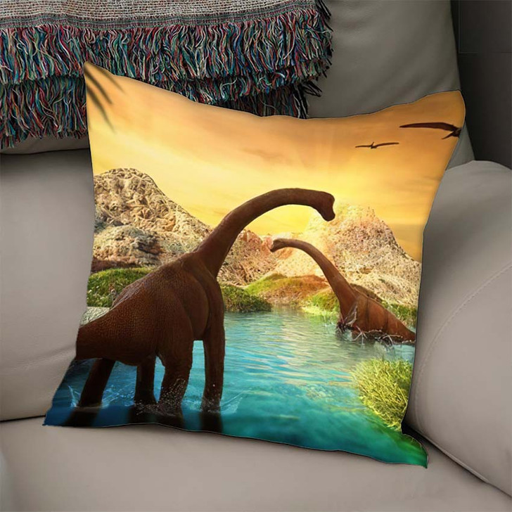 3D Fantasy Landscape Dinosaur Rendered Mountains - Dinosaur Animals Linen Throw Pillow
