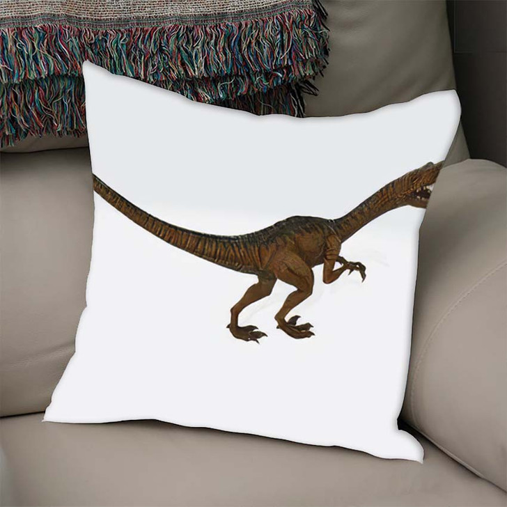 3D Illustration Velociraptor Chases Small Mammal - Dinosaur Animals Linen Throw Pillow