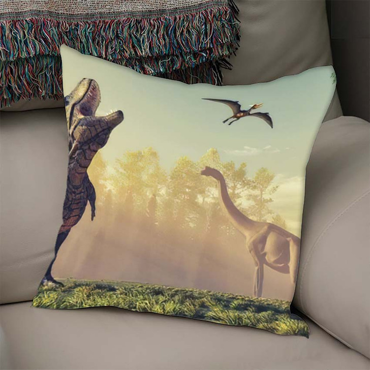 3D Render Dinosaur This Illustration - Dinosaur Animals Linen Throw Pillow