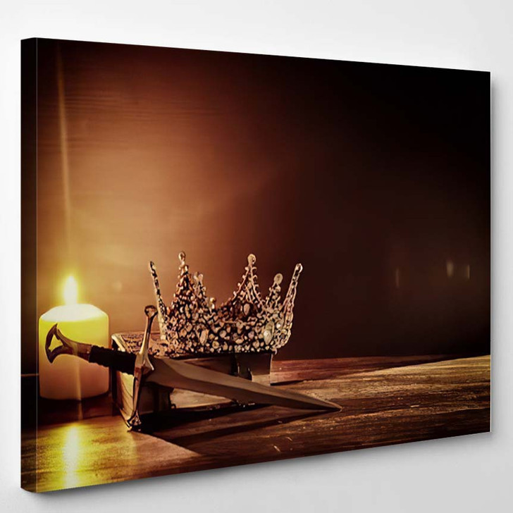 Low Key Image Beautiful Queenking Crown 2 1 - Fantasy Canvas Wall Decor