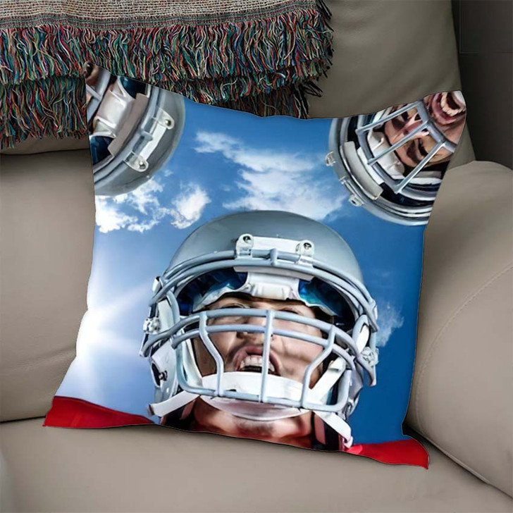 3D American Football Huddle Against Bright - Football Linen Throw Pillow