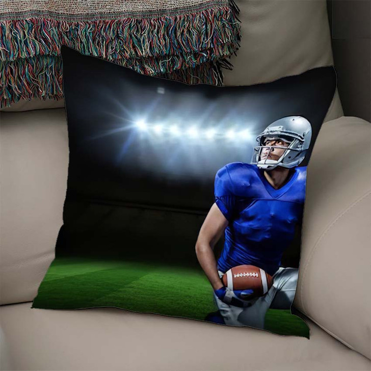 3D American Football Player Ball Kneeling - Football Linen Throw Pillow