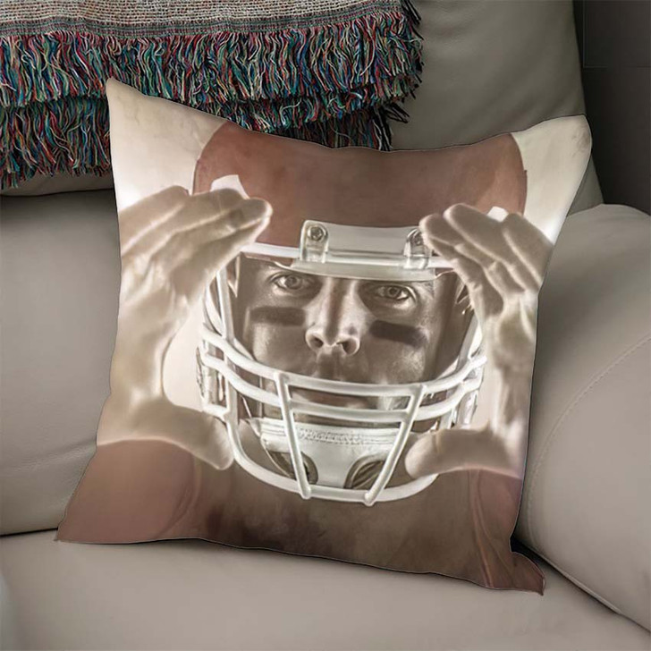 3D American Football Player Making Hand - Football Linen Throw Pillow