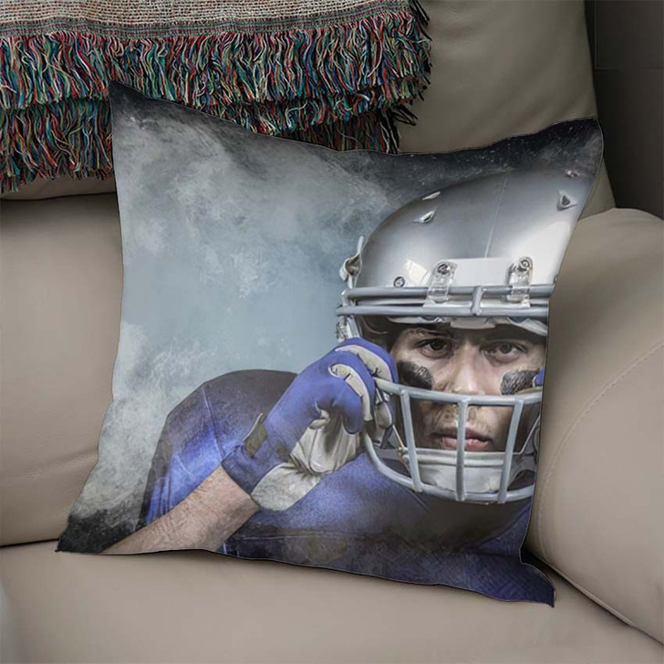 3D Portrait American Football Player Wearing - Football Linen Throw Pillow