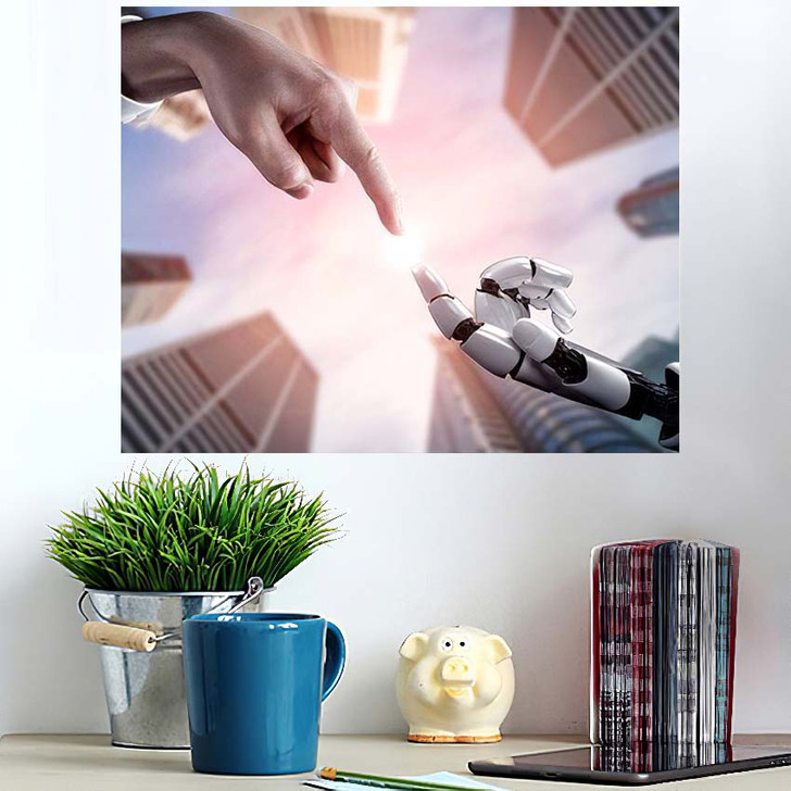 3D Rendering Artificial Intelligence Ai Research - Creation of Adam Wall Art Poster