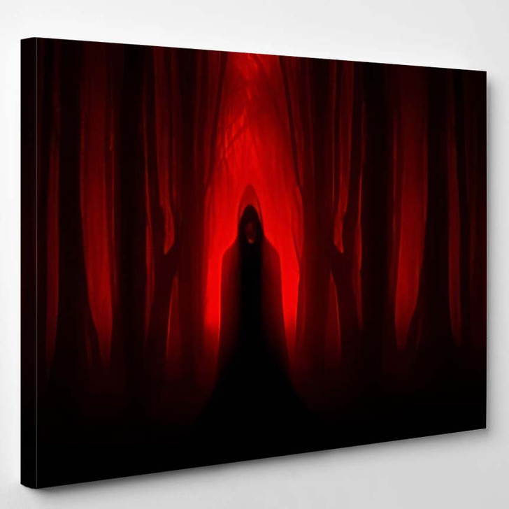 Scary Ghostly Figure Haunted Forest Halloween 1 - Fantasy Canvas Wall Decor
