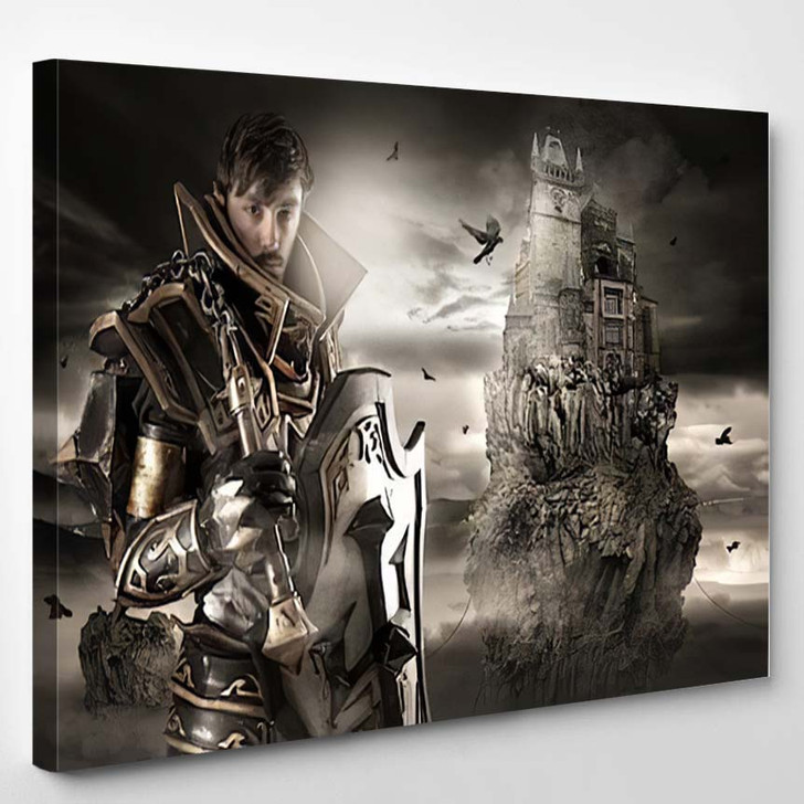 Young Man Cosplaying Fantasy Knight Costume - Fantasy Canvas Wall Decor