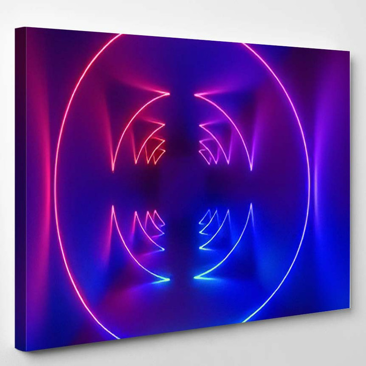3D Rendering Ultraviolet Spectrum Glowing Rings - Psychedelic Canvas Wall Decor