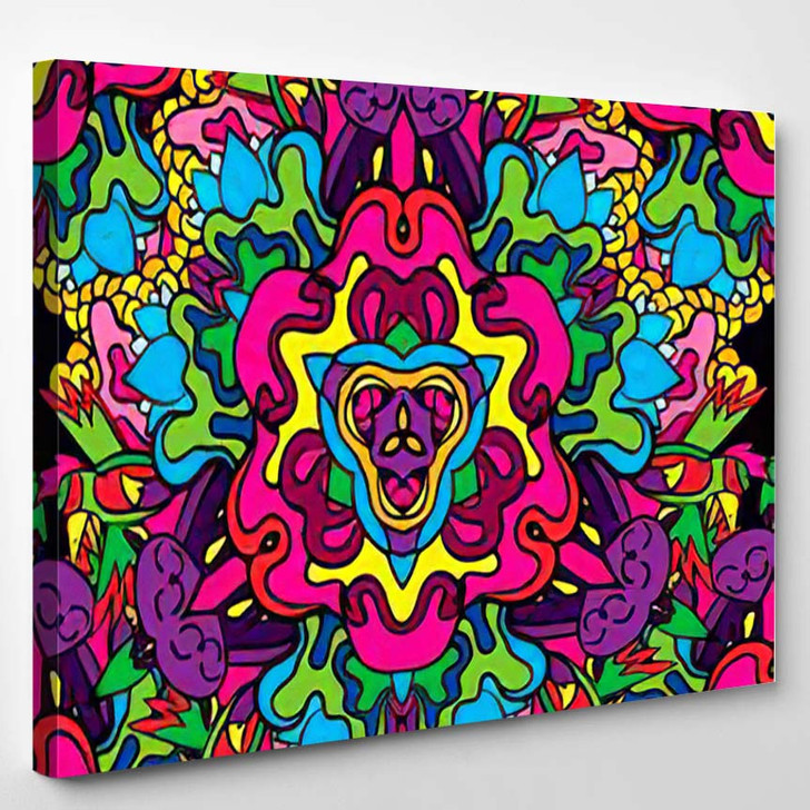 60S Hippie Psychedelic Art Seamless Pattern 3 - Psychedelic Canvas Wall Decor