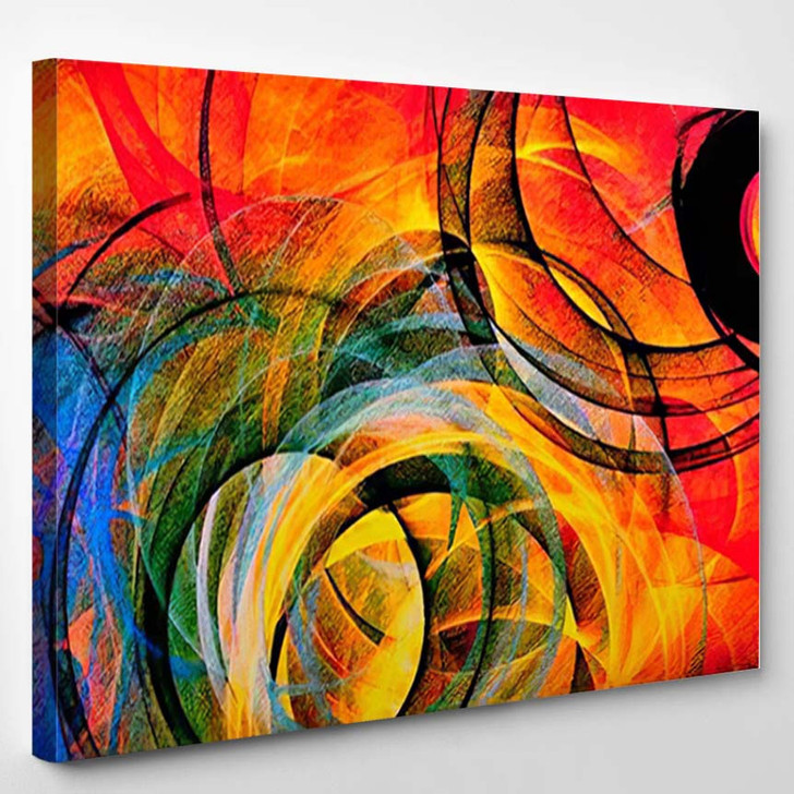 Abstract Background Psychedelic Colored Penciled Generated 3 - Psychedelic Canvas Wall Decor
