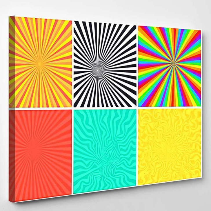 Abstract Bright Color Retro Striped Backgrounds - Psychedelic Canvas Wall Decor