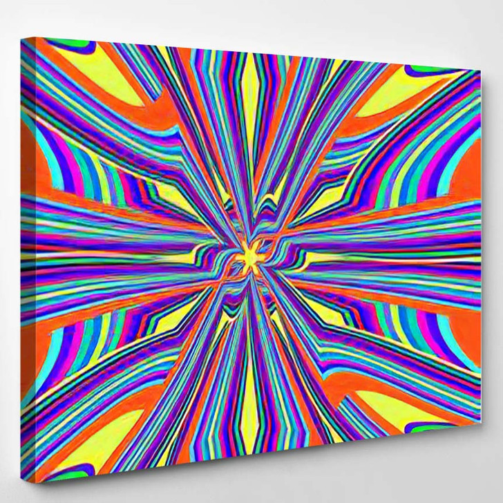 Abstract Colorful Background Made Old School - Psychedelic Canvas Wall Decor