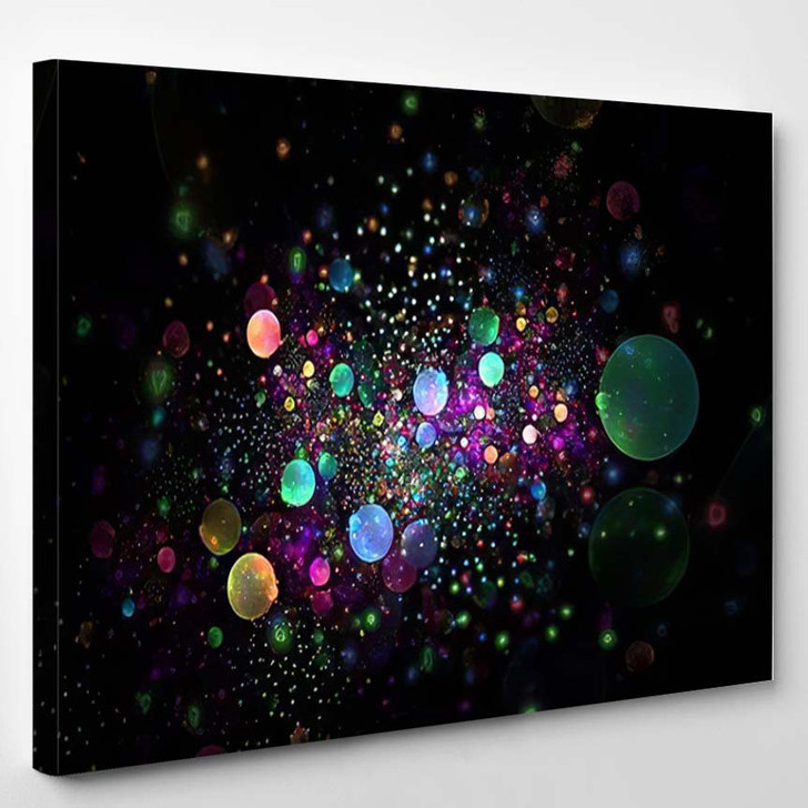 Abstract Colorful Glowing Rainbow Drops Sparkles - Psychedelic Canvas Wall Decor
