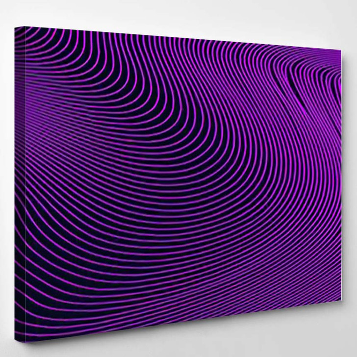Abstract Dark Pink Geometric Pattern Waves - Psychedelic Canvas Wall Decor