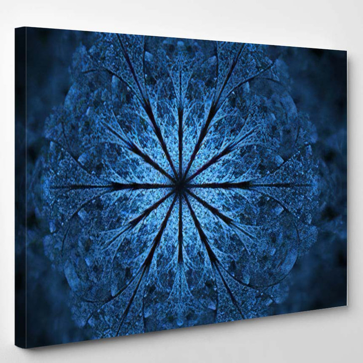 Abstract Exotic Blue Flower Psychedelic Mandala - Psychedelic Canvas Wall Decor