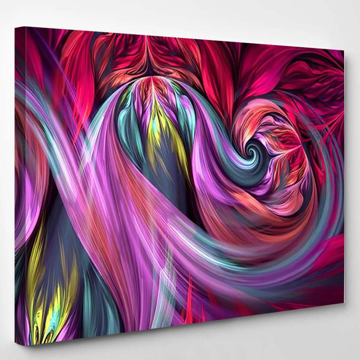 Abstract Fractal Patterns Shapes Dynamic Flowing 1 - Psychedelic Canvas Wall Decor