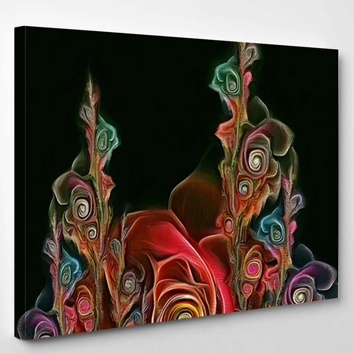 Abstract Fractal Psychedelic Shape Texture Color - Psychedelic Canvas Wall Decor