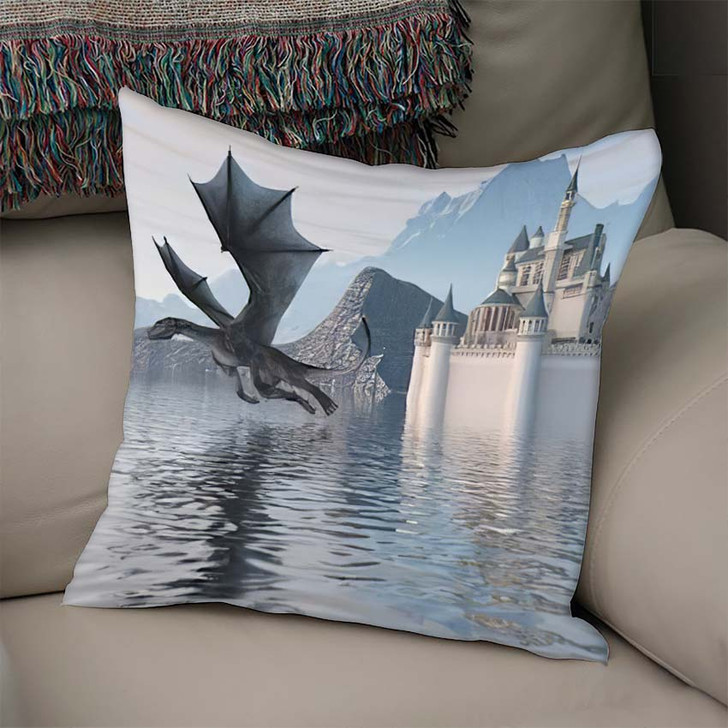 3D Illustration Castle On Water Dragon - Dragon Animals Linen Throw Pillow