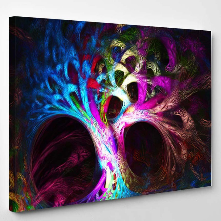 Abstract Image Mysterious Psychedelic Tree Sacred - Psychedelic Canvas Wall Decor