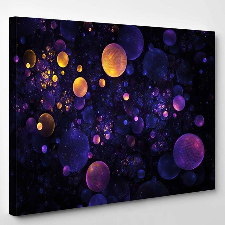 Abstract Orange Blue Textured Bubbles On - Psychedelic Canvas Wall Decor