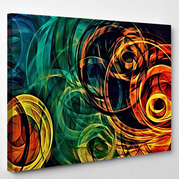 Abstract Psychedelic Background Colored Fractal Hotspots - Psychedelic Canvas Wall Decor