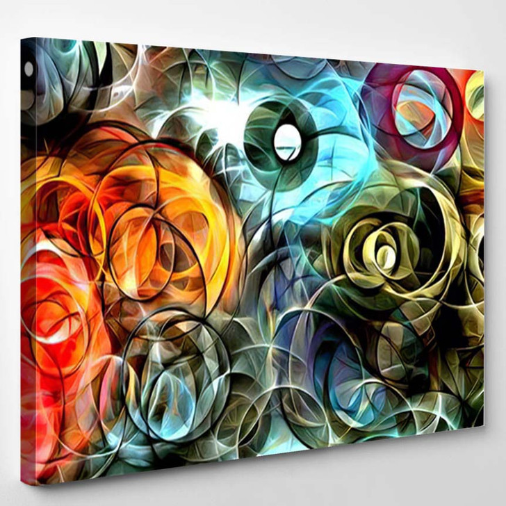 Abstract Psychedelic Background Colored Fractal Hotspots 1 - Psychedelic Canvas Wall Decor