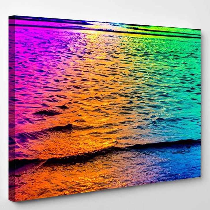 Abstract Sea Water Small Waves Sunny - Psychedelic Canvas Wall Decor