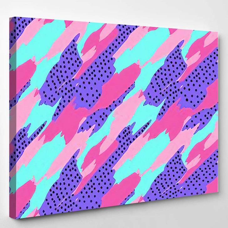 Abstract Seamless Geometric Pattern Girls Boys - Psychedelic Canvas Wall Decor