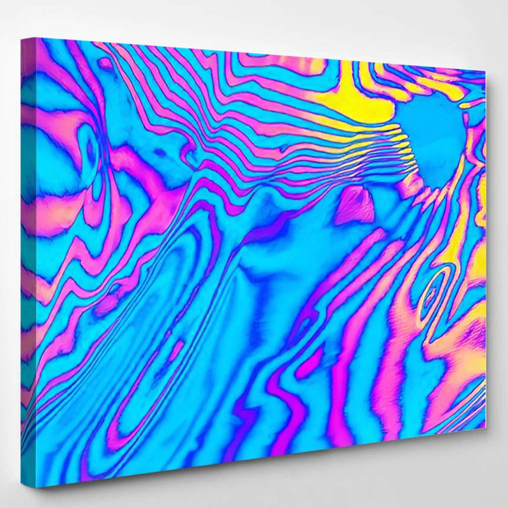 Abstract Trendy Neon Colored Psychedelic Fluorescent - Psychedelic Canvas Wall Decor