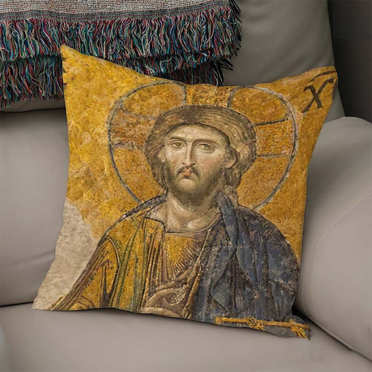 13Th Century Mosaic Jesus Christ Hagia - Jesus Christian Linen Throw Pillow