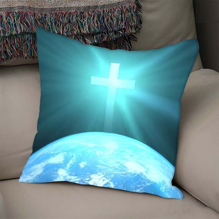 3D Illustration Christian Cross Over Planet - Jesus Christian Linen Throw Pillow