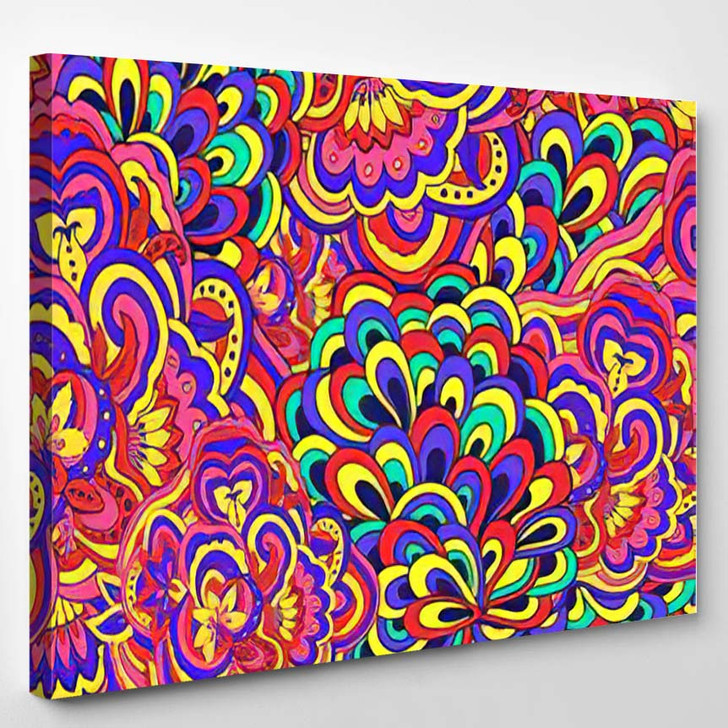 Abstract Vector Seamless Colorful Psychedelic Pattern - Psychedelic Canvas Wall Decor