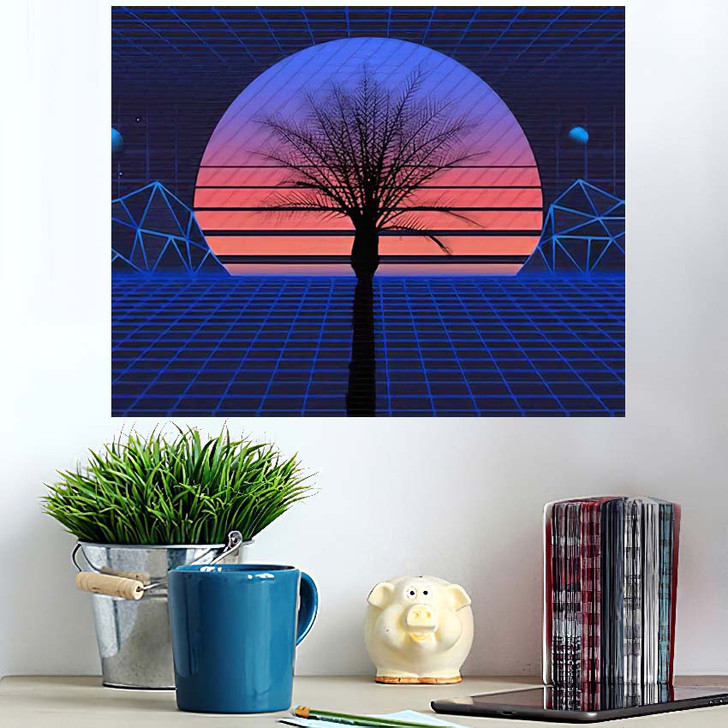 1980S Retro Futuristic Background Sunset Laser 1 - Galaxy Sky and Space Wall Art Poster