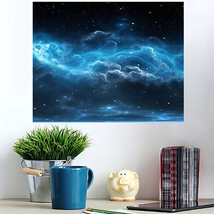 360 Degree Space Background Nebula Stars - Galaxy Sky and Space Wall Art Poster