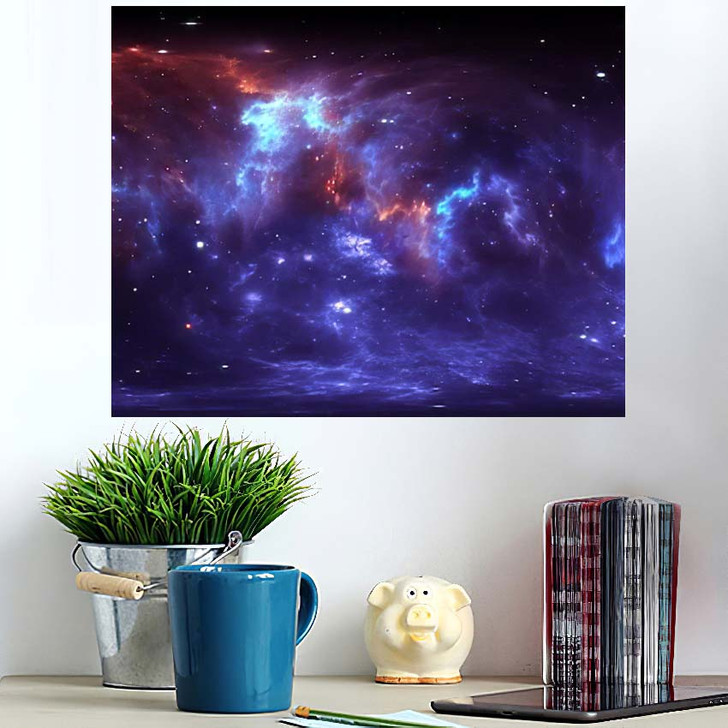 360 Degree Space Nebula Panorama Equirectangular 2 - Galaxy Sky and Space Wall Art Poster