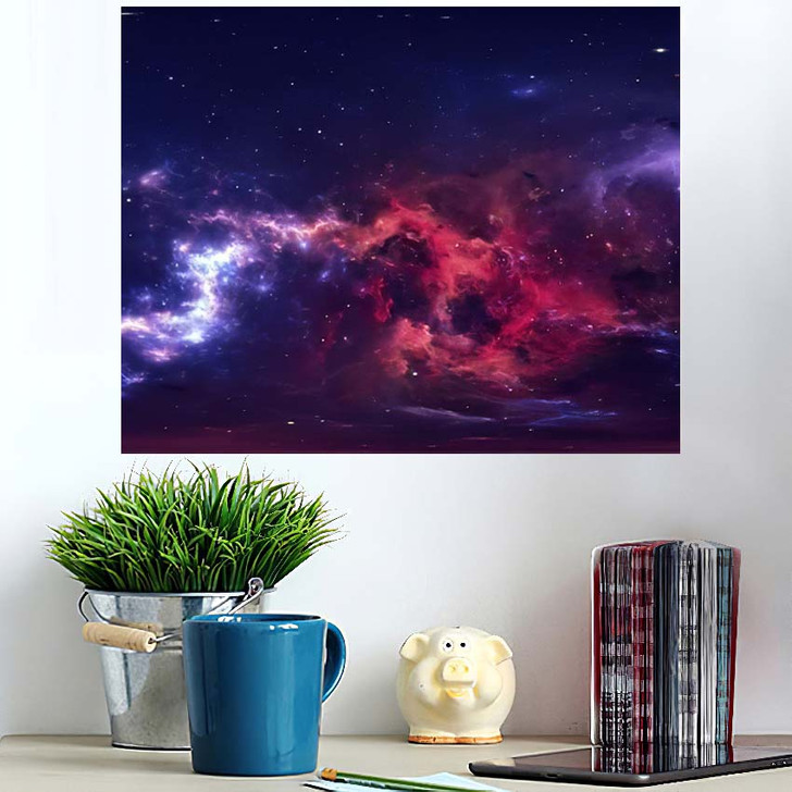 360 Degree Space Nebula Panorama Equirectangular 7 - Galaxy Sky and Space Wall Art Poster