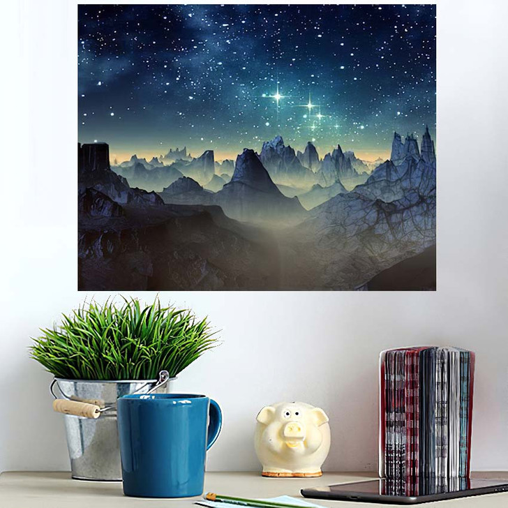 3D Created Rendered Fantasy Alien Planet 1  1 - Galaxy Sky and Space Wall Art Poster