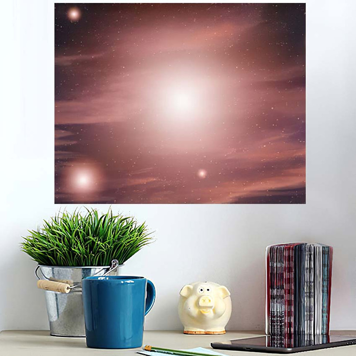 3D Illustration Planets Galaxy Science Fiction - Galaxy Sky and Space Wall Art Poster