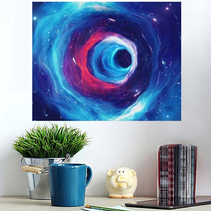 3D Illustration Tunnel Wormhole That Can - Galaxy Sky and Space Wall Art Poster