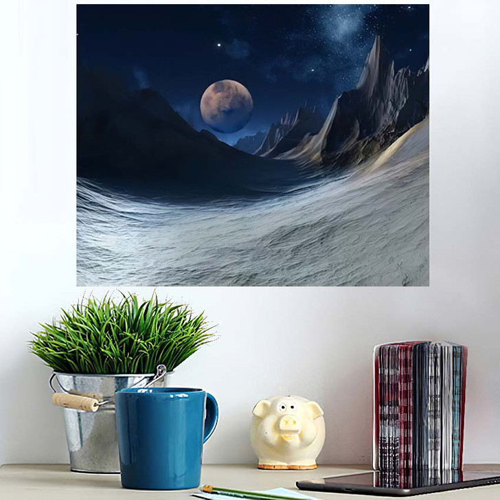 3D Rendered Fantasy Alien Landscape Illustration 1 - Galaxy Sky and Space Wall Art Poster