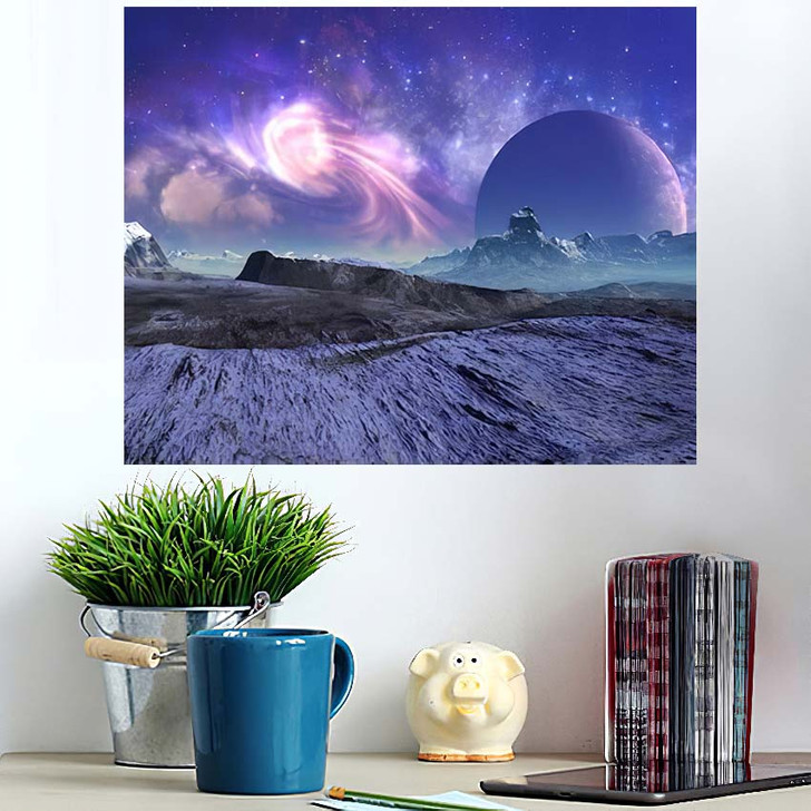 3D Rendered Fantasy Alien Landscape Illustration 1  1 - Galaxy Sky and Space Wall Art Poster