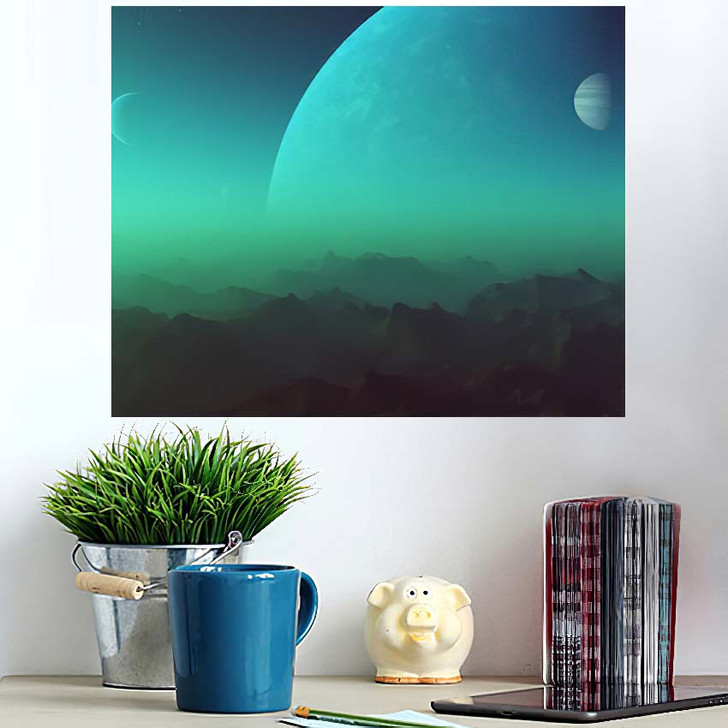3D Rendered Space Art Alien Planet - Galaxy Sky and Space Wall Art Poster