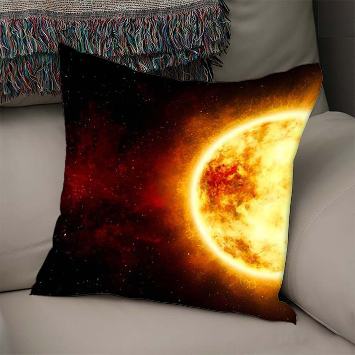 3D Illustration Sun Star Cosmic Cloud - Sky and Space Linen Throw Pillow
