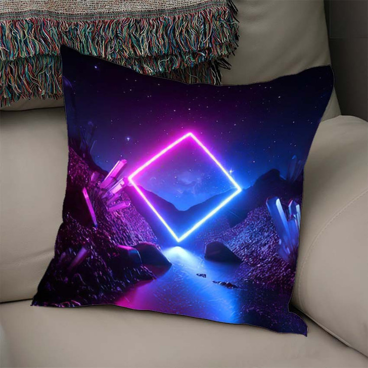 3D Render Abstract Neon Background Mystical - Sky and Space Linen Throw Pillow