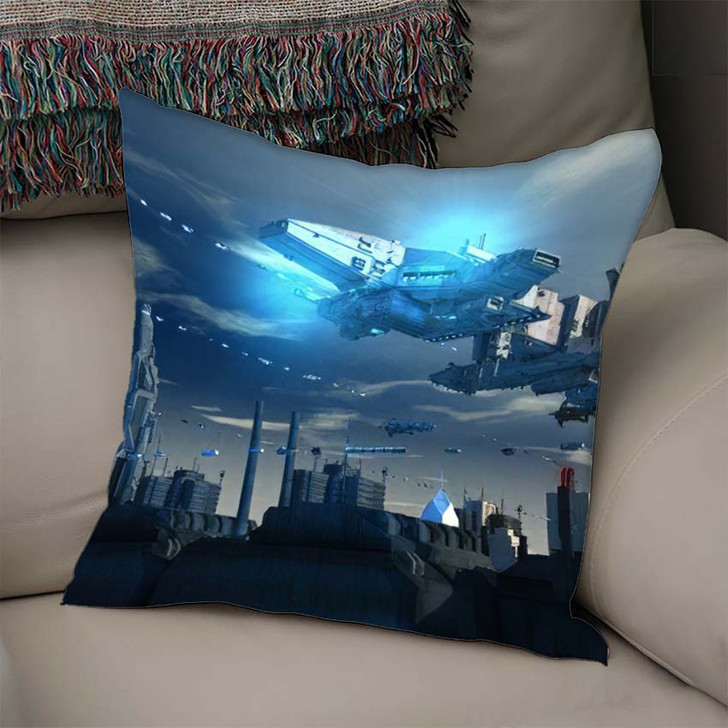 3D Render Futuristic Spaceship Ufo - Sky and Space Linen Throw Pillow