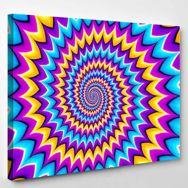 Colorful Background Spirals Motion Illusion - Psychedelic Canvas Wall Decor