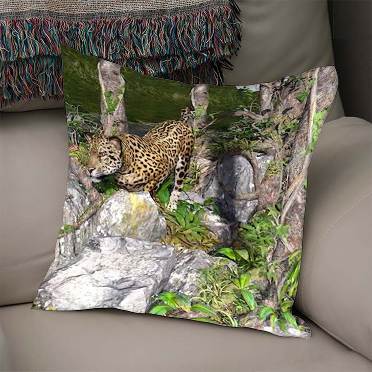 3D Artwork Leopard Hunting Wild - Hunting and Fishing Linen Throw Pillow